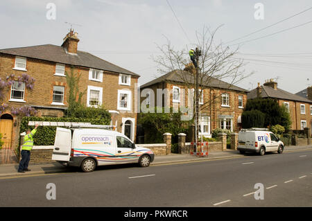 Two BT workmen on Clarence Road in Windsor, Berkshire, England 2007 - Stock Photo