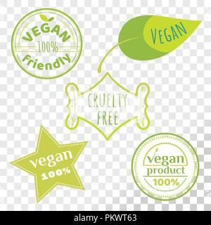 Vegan free labels collection isolated on transparent background. Set of cruelty free emblems that proves animal rights protection. - Stock Photo