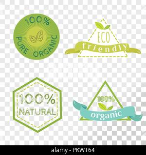 Organic labels collection isolated on transparent background. Emblems for healthy and safe products. - Stock Photo