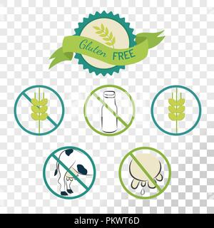 Gluten free labels collection isolated on transparent background. Emblems for caution for people with allergies. - Stock Photo