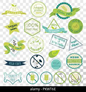 Set of labels for vegans, gluten free and diary free badges.Signs for natural organic food, that contains high fiber and protein. Eco friendly emblem - Stock Photo