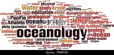 Oceanology word cloud concept. Vector illustration - Stock Photo
