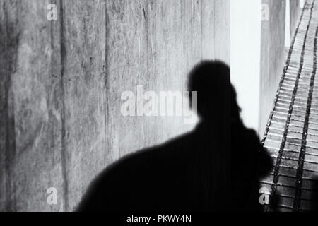 Berlin, Germany, August 31, 2018: Shadow of Photographer (Selfie) at Holocaust Memorial - Stock Photo