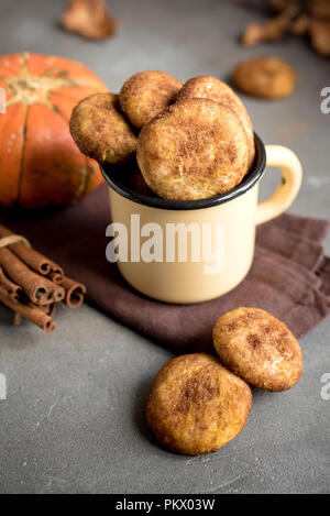 Pumpkin Snickerdoodle Cookies.  Seasonal Autumn Homemade Cookies in rustic mug. Traditional desert Snickerdoodles for Autumn. - Stock Photo