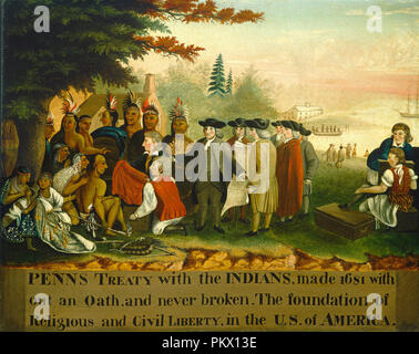 Penn's Treaty with the Indians. Dated: c. 1840/1844. Dimensions: overall: 61.7 x 76.5 cm (24 5/16 x 30 1/8 in.)  framed: 67.6 x 82.9 x 5.1 cm (26 5/8 x 32 5/8 x 2 in.). Medium: oil on canvas. Museum: National Gallery of Art, Washington DC. Author: Edward Hicks. George Catlin.