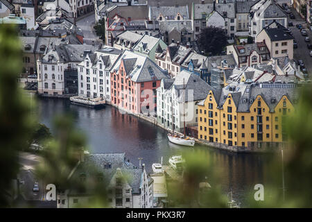 colorful old town, Alesund, Norway, city landscape ariel view beautiful summer day - Stock Photo