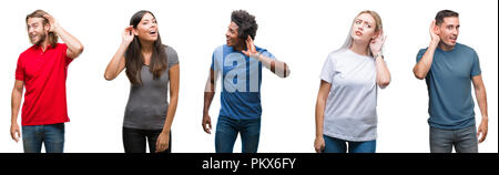Composition of african american, hispanic and caucasian group of people over isolated white background smiling with hand over ear listening an hearing - Stock Photo