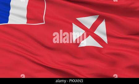 Wallis And Futuna Flag, Closeup View, 3D Rendering - Stock Photo