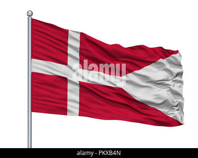 Denmark Naval Ensign Flag On Flagpole, Isolated On White Background, 3D Rendering - Stock Photo