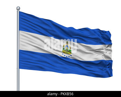 Honduras Naval Ensign Flag On Flagpole, Isolated On White Background, 3D Rendering - Stock Photo