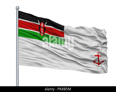 Kenya Naval Ensign Flag On Flagpole, Isolated On White Background, 3D Rendering - Stock Photo