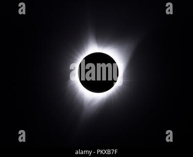 The solar corona is visible during the total solar eclipse on 8-21-17, seen from the Strawberry Mountains, eastern Oregon. - Stock Photo