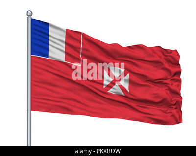 Wallis And Futuna Flag On Flagpole, Isolated On White Background, 3D Rendering - Stock Photo