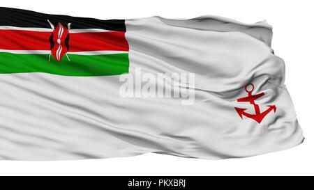 Kenya Naval Ensign Flag, Isolated On White Background, 3D Rendering - Stock Photo