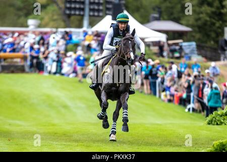 North Carolina, USA. 15th Sept 2018. Marcelo Tosi. Glenfly. BRA. Eventing Cross country Day 5. World Equestrian Games. WEG 2018 Tryon. North Carolina. USA. 15/09/2018. Credit: Sport In Pictures/Alamy Live News - Stock Photo