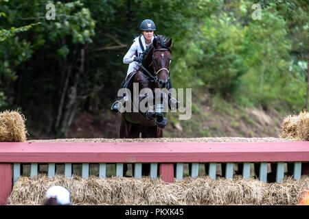 North Carolina, USA. 15th Sept 2018. Jessica Phoenix. Pavarotti. CAN. Eventing Cross country Day 5. World Equestrian Games. WEG 2018 Tryon. North Carolina. USA. 15/09/2018. Credit: Sport In Pictures/Alamy Live News - Stock Photo