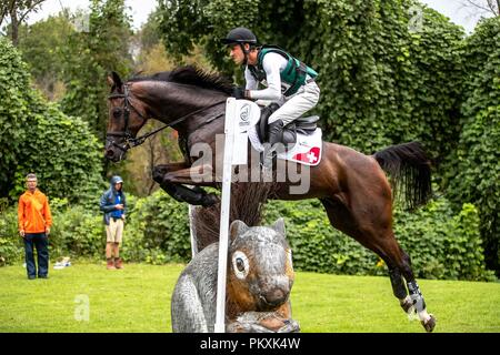 North Carolina, USA. 15th Sept 2018. Felix Vogg. Colero. SUI. Eventing Cross country Day 5. World Equestrian Games. WEG 2018 Tryon. North Carolina. USA. 15/09/2018. Credit: Sport In Pictures/Alamy Live News - Stock Photo