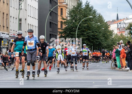 Berlin Germany, 15 September 2018. Annual Inline Skating Marathon. In line skaters pass through Rosenthaler Platz as they compete in the annual roller skating event. The event is the Grand Finale of the Inline skating season as skaters participants from 60 countries compete for the WORLD and GERMAN INLINE CUP Credit: Eden Breitz/Alamy Live News