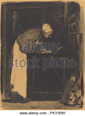 Old Woman at a Stove (Vielle Femme au Fourneau). Dated: 1893. Dimensions: image: 25.8 x 20 cm (10 3/16 x 7 7/8 in.)  sheet: 29.5 x 23.3 cm (11 5/8 x 9 3/16 in.)  support: 45 x 31.9 cm (17 11/16 x 12 9/16 in.). Medium: lithograph in black on tan wove paper; laid down. Museum: National Gallery of Art, Washington DC. Author: Edouard Vuillard. - Stock Photo