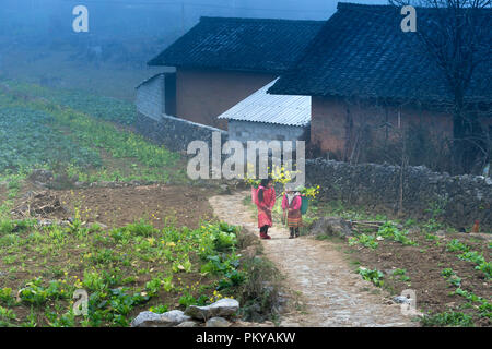 Hmong children in the mountains of Dong Van, Ha Giang province, Vietnam - Stock Photo