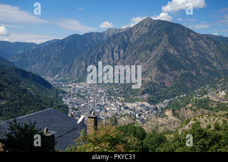 Andorra la Vella city, in a valley in the middle of Pyrenees - Stock Photo
