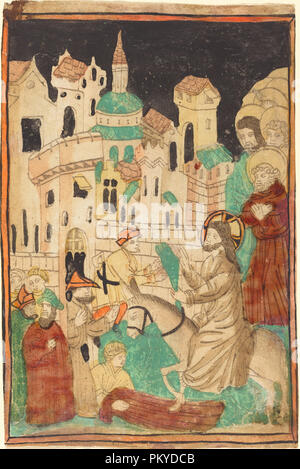 Christ's Entry into Jerusalem. Dated: probably 1450. Medium: woodcut in light brown, hand-colored in red lake, green, black, tan, orange, and yellow. Museum: National Gallery of Art, Washington DC. Author: German 15th Century. - Stock Photo