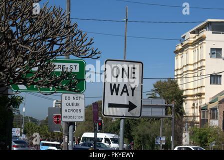 Australian Road Signs & Pedestrians - Stock Photo