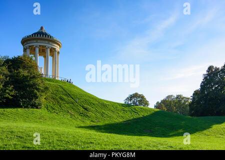 München, Munich: Englischer Garten (English Garden), temple Monopteros, Oberbayern, Upper Bavaria, Bayern, Bavaria, Germany - Stock Photo