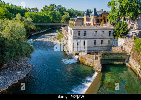 view of the dams on the river oloron from the Saint Claire bridge. Saint Marie Oloron france - Stock Photo
