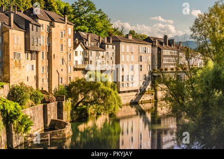 Typical French landscape in the interior of the country on the Oloron river. Saint Marie Oloron france - Stock Photo