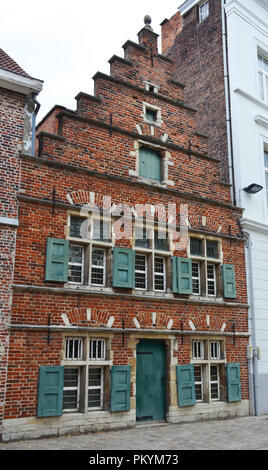 Facade of an old house in the center of Gent, Belgium - Stock Photo