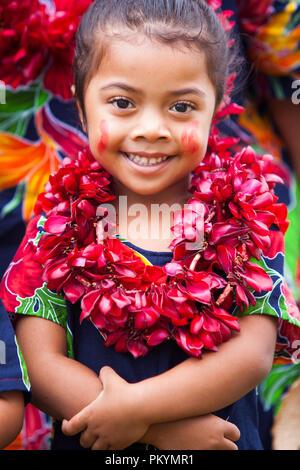 A girl performs at Samoa's national Teuila festival, Apia, 2012. - Stock Photo