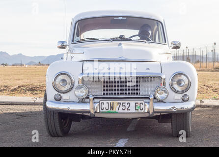 Queenstown, South Africa, 17 June 2017: Vintage white Volvo vehicle on display at Queenstown Air Show - Illustrative editorial image - Stock Photo