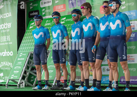 Tour of Britain 2018, London stage: presentation of the Spanish Team Movistar - Stock Photo