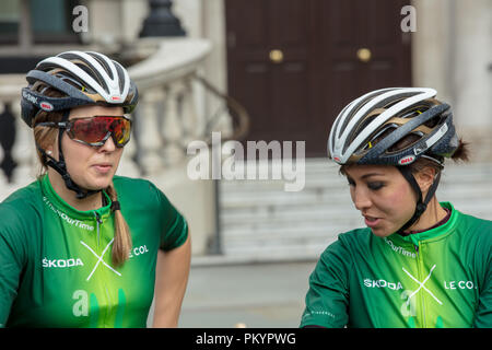 HSBC British Cycling Let's Ride Westminster Event. Female team cyclists waiting for the start of the non competitive race in central London. - Stock Photo