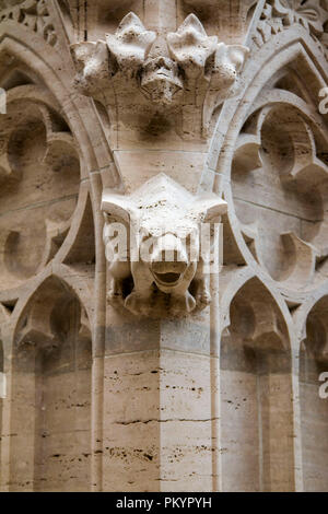 Gargoyle, detail on the facade of cathedral in Zagreb, Croatia - Stock Photo