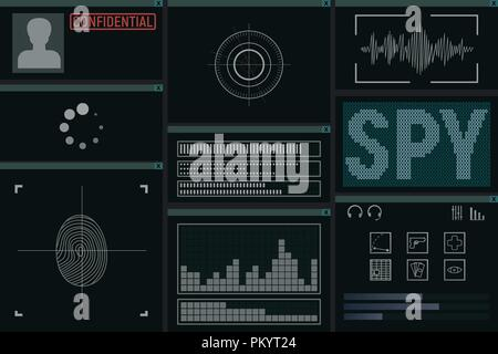 Software for the spy. Monitor vector illustration. Detective intelligence. - Stock Photo