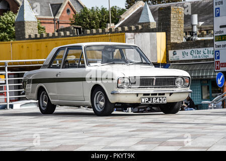 Ford Cortina on show. Ford Cortina Mark II at Classic Cars on the Beach in Southend on Sea, Essex, UK. - Stock Photo