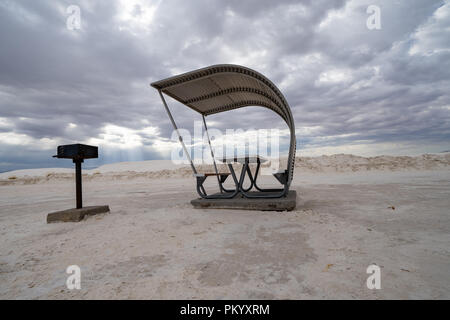 Picnic shelter in White Sands National Monument - Stock Photo