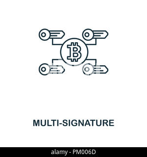 Multi-Signature outline icon. Monochrome style design from crypto currency collection. UI. Pixel perfect simple pictogram outline multi-signature icon - Stock Photo