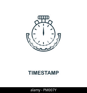 Timestamp outline icon. Monochrome style design from crypto currency collection. UI. Pixel perfect simple pictogram outline timestamp icon. Web design - Stock Photo