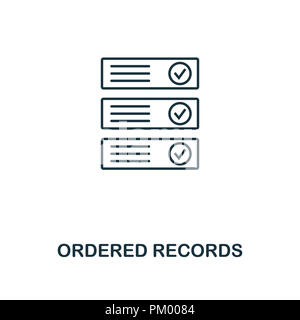 Ordered Records outline icon. Monochrome style design from crypto currency collection. UI. Pixel perfect simple pictogram outline ordered records icon - Stock Photo