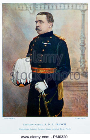Field Marshal John Denton Pinkstone French, 1st Earl of Ypres, KP, GCB, OM, GCVO, KCMG, ADC, PC, 1852 –  1925, known as Sir John French from 1901 to 1916, and as The Viscount French between 1916 and 1922, was a senior British Army officer. Colour illustration from 1900 - Stock Photo