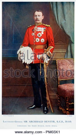 General Sir Archibald Hunter, GCB, GCVO, DSO, TD, 1856 – 1936, was a senior officer in the British Army who distinguished himself during the Boer War. Colour illustration from 1900 - Stock Photo