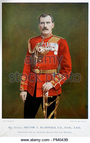 Major General Sir Hector Archibald MacDonald, KCB, DSO, 1853 – 1903, also known as Fighting Mac, was a Victorian soldier. Colour illustration from 1900 - Stock Photo