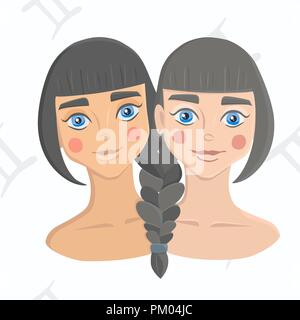 Twin girls with hair braided together on astrology seamless background. Gemini zodiac sign isolated on white background. Sisterhood concept. - Stock Photo