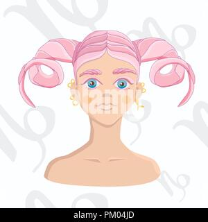Pink-haired girl with horned hairstyle on astrology seamless background. Capricorn zodiac sign isolated on white background. - Stock Photo