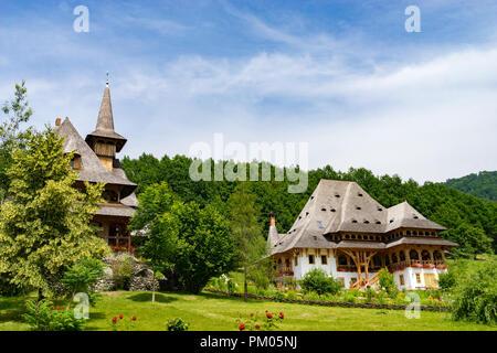 The Beautiful Barsana Temple in Maramures County of Romania - Stock Photo