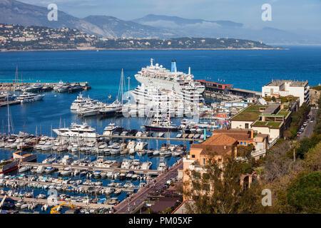 Monaco principality, yachts and boats at Port Hercule on Mediterranean Sea - Stock Photo