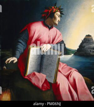 Allegorical Portrait of Dante. Dated: late 16th century. Dimensions: overall: 126.9 x 120 cm (49 15/16 x 47 1/4 in.)  framed: 165.7 x 158.8 x 8.3 cm (65 1/4 x 62 1/2 x 3 1/4 in.). Medium: oil on panel. Museum: National Gallery of Art, Washington DC. Author: Florentine 16th Century. Bronzino. - Stock Photo